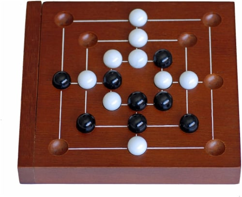 WE Games Nine Men's Morris Wooden Travel Game with Marbles - 5 inch Travel Size Perspective: front