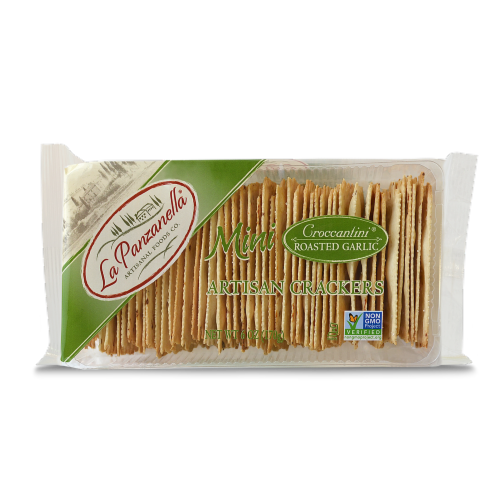 La Panzanella Mini Croccantini Roasted Garlic Artisan Crackers Perspective: front