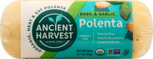 Food Merchants Organic Basil Garlic Polenta Perspective: front