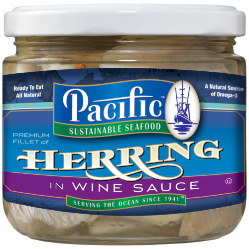 Pacific Sustainable Seafood Herring in Wine Sauce Perspective: front
