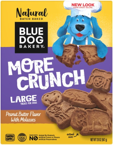 Blue Dog Bakery More Crunch Peanut Butter and Molasses Large Dog Treats Perspective: front