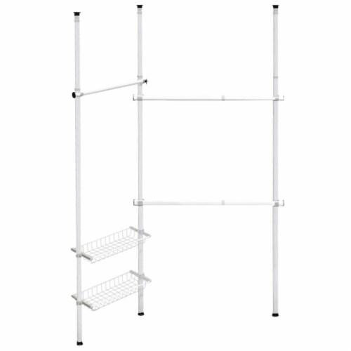 Gymax Double 2 Tier Telescopic Garment Rack Adjustable Closet Organizer w/ Baskets Perspective: front