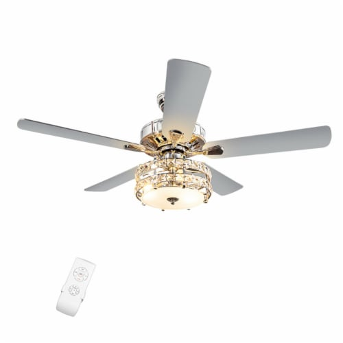 Gymax 52'' Classical Crystal Ceiling Fan Lamp w/ Reversible Blades Remote Control Home Perspective: front