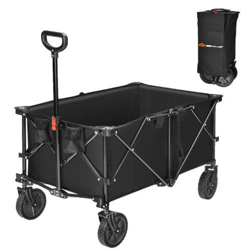 Costway Collapsible Folding Wagon Cart Outdoor Utility Garden Trolley Buggy Shopping Toy Perspective: front