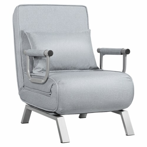 Costway Folding 5 Position Convertible Sleeper Bed Armchair Lounge w/ Pillow Light Perspective: front