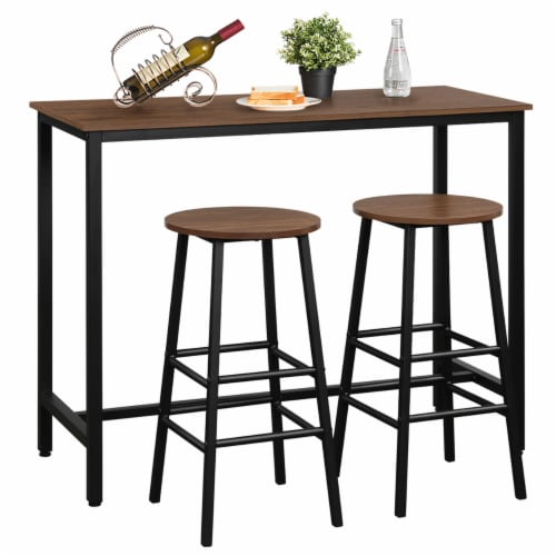 Costway 3 Piece Bar Table Set Pub Table and 2 Stools Counter Kitchen Dining Set Brown Perspective: front