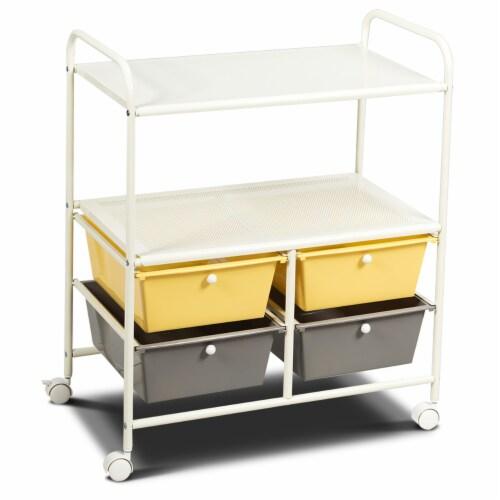 Costway Rolling Storage Cart w/4 Drawers 2 Shelves Metal Rack Shelf Utility Organizer Perspective: front