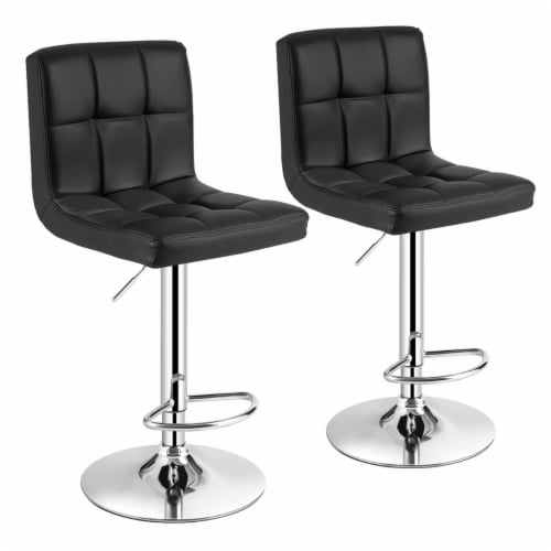 Costway Set of 2 Adjustable Bar Stools PU Leather Swivel Kitchen Counter Pub Chair Perspective: front