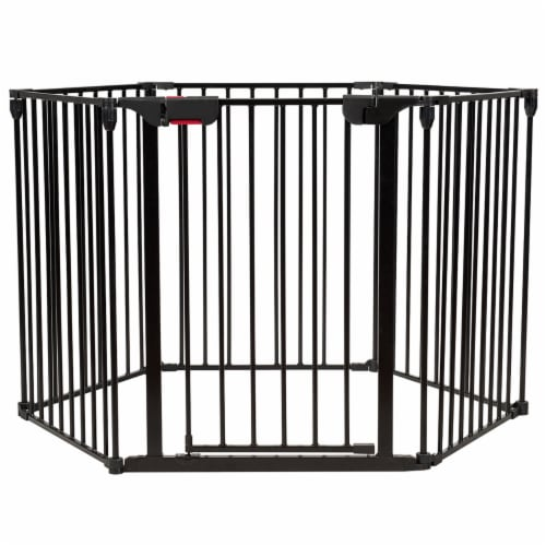 Costway 6 Panel Baby Safe Metal Gate Play Yard Barrier Pet Fence Adjustable Perspective: front