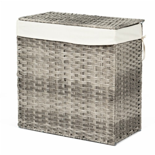 Gymax Hand-woven Laundry Basket Foldable Rattan Laundry Hamper W/Removable Bag Grey Perspective: front