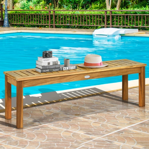 Costway 52'' Outdoor Acacia Wood Dining Bench Chair with Slatted Seat Perspective: front