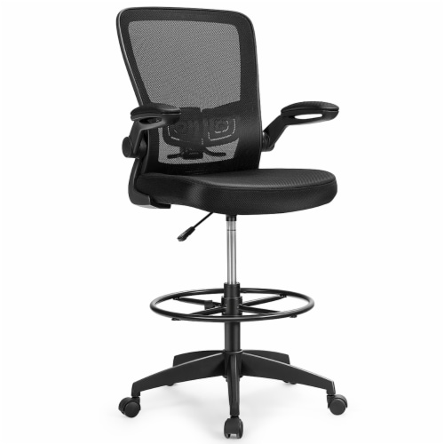 Costway Tall Office Chair Adjustable Height w/Lumbar Support Flip Up Arms Perspective: front