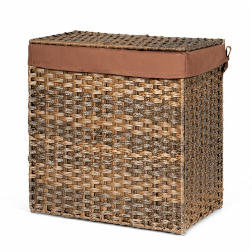 Gymax Hand-woven Laundry Basket Foldable Rattan Laundry Hamper W/Removable Bag Brown Perspective: front