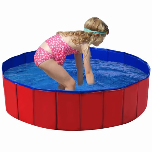 Costway 48  Foldable Kiddie Pool Kids Bath Tub Ball Pit Playpen Indoor Outdoor Portable Perspective: front