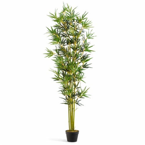 Costway 6 ft Artificial Bamboo Silk Tree Indoor Outdoor Home Office Decorative Planter Perspective: front