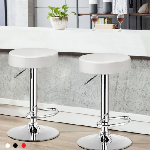 Costway 1 PC Round Bar Stool Adjustable Swivel Pub Chair U Leather with Footrest White\\ Perspective: front