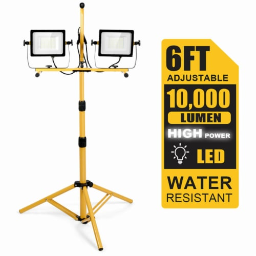 Costway 100W 10,000lm LED Dual-Head Work Light w/Adjustable Tripod Stand IP65 Waterproof Perspective: front