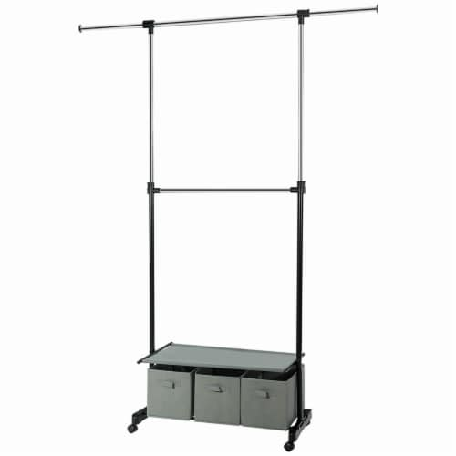Costway 2-Rod Adjustable Garment Rack Rolling Clothes Organizer w/ Shelf & Storage Boxes Perspective: front