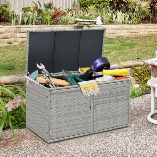 Gymax 88 Gallon Rattan Storage Box Outdoor Patio Container Seat w/ Shelf Door Perspective: front