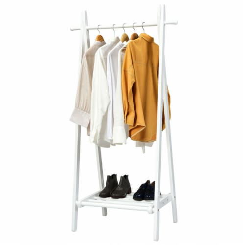Gymax A-Frame Wood Garment Rack Clothing Hanging Rack w/Storage Shelf Entryway Bedroom Perspective: front