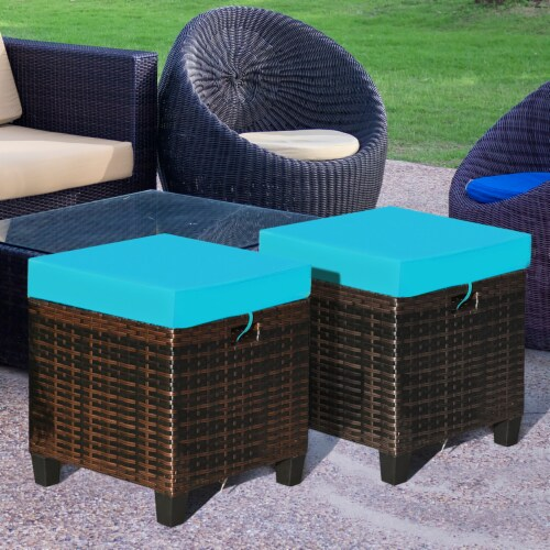 Costway 2PCS Patio Rattan Ottoman Cushioned Seat Foot Rest Coffee Table Turquoise Perspective: front
