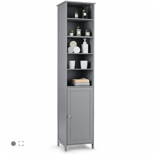 Costway 72''H Bathroom Tall Floor Storage Cabinet Shelving Display Grey\White Perspective: front
