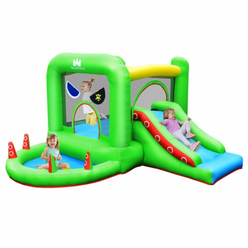 Costway Inflatable Bouncer Kids Bounce House Jump Climbing Slide BallPit Without Blower Perspective: front