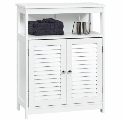 Costway Bathroom Wood Storage Cabinet w/ Double Shutter Door Perspective: front