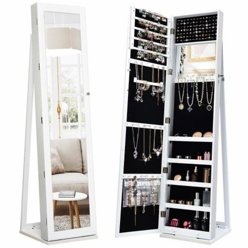 Costway Mirrored Jewelry Cabinet Lockable Standing Storage Organizer W/ Shelf Perspective: front