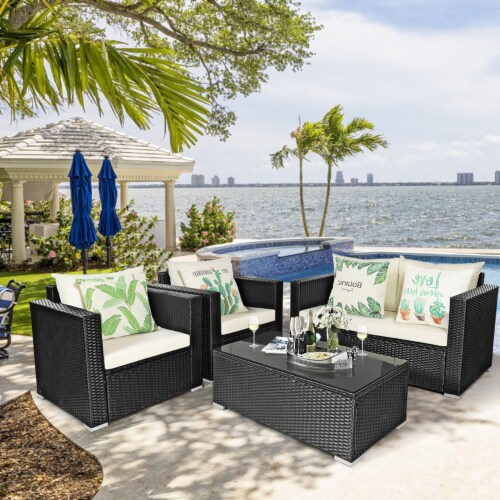 Costway 4PCS Patio Rattan Furniture Set Cushioned Sofa Chair Coffee Table Off White Perspective: front