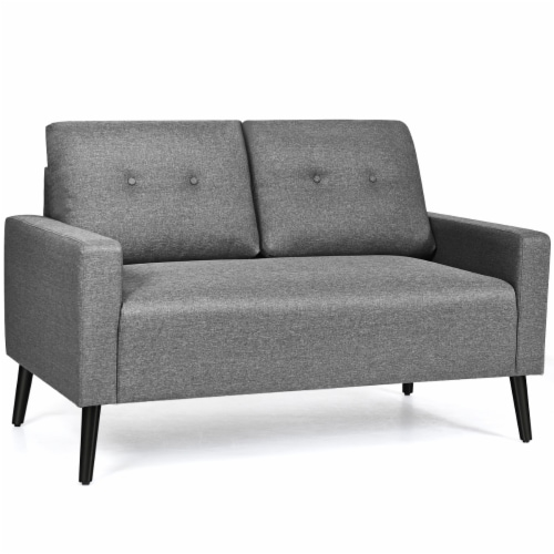 Costway Modern Loveseat Sofa 55'' Upholstered Chair Couch with Soft Cloth Cushion Grey Perspective: front