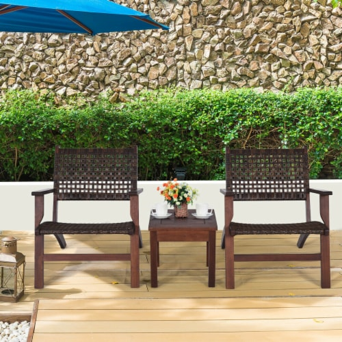 Gymax 3PCS Rattan Patio Chair & Table Set Outdoor Furniture Set w/ Wooden Frame Perspective: front