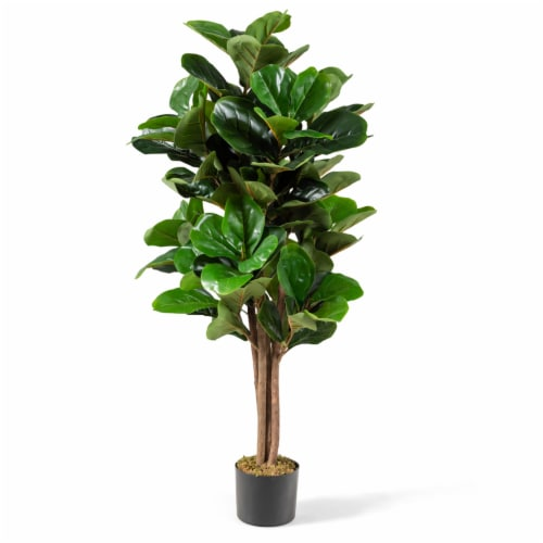 Costway 4ft Artificial Fiddle Leaf Fig Tree Indoor Outdoor Office Decorative Planter Perspective: front