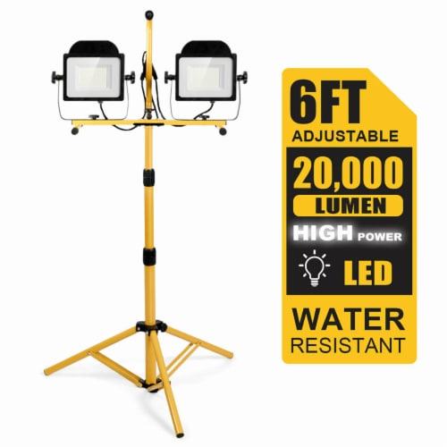 Costway 200W 20,000lm LED Dual-Head Work Light w/Adjustable Tripod Stand IP65 Waterproof Perspective: front