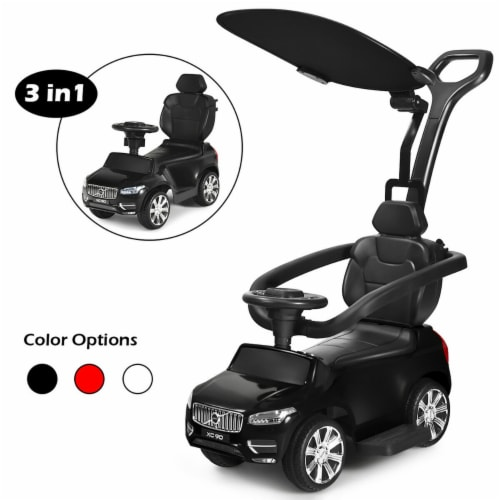 Costway 3 in 1 Licensed Volvo Kids Ride On Push Car Stroller for Toddler w/ Canopy Perspective: front