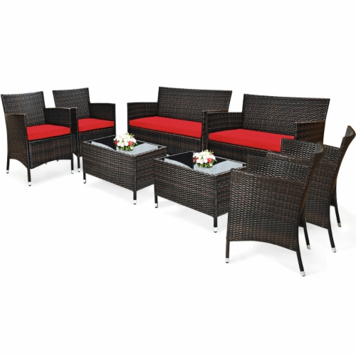 Costway 8PCS Rattan Patio Furniture Set Cushioned Sofa Chair Coffee Table Perspective: front