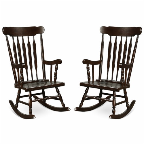 Costway Set of 2 Wood Rocking Chair Glossy Finish White\ Coffe Perspective: front
