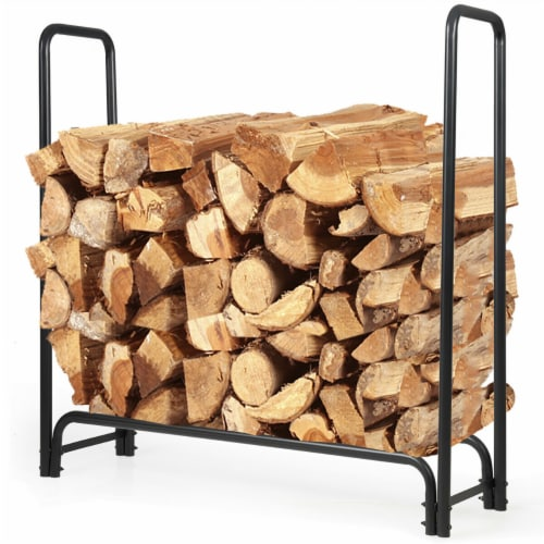 Costway 4 Feet Outdoor Steel Firewood Log Rack Wood Storage Holder for Fireplace Black Perspective: front