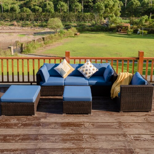 Costway 6PCS Patio Rattan Furniture Set Sofa Coffee Table Ottoman Navy Perspective: front