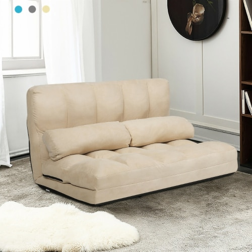 Costway Foldable Floor Sofa Bed 6-Position Adjustable Lounge Couch with 2 Pillows Perspective: front