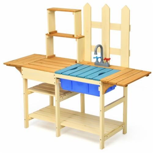 Costway Kid's Wooden Mud Kitchen Pretend Cook Playset Toy For Children Perspective: front