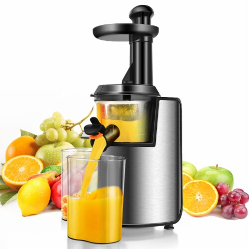 Costway Slow Masticating Juicer Cold Press Stainless Steel w/ Brush Perspective: front