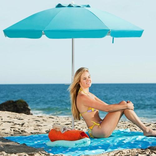 Costway 6.5FT Patio Beach Umbrella Sun Shade Tilt W/Carry Bag Blue Perspective: front