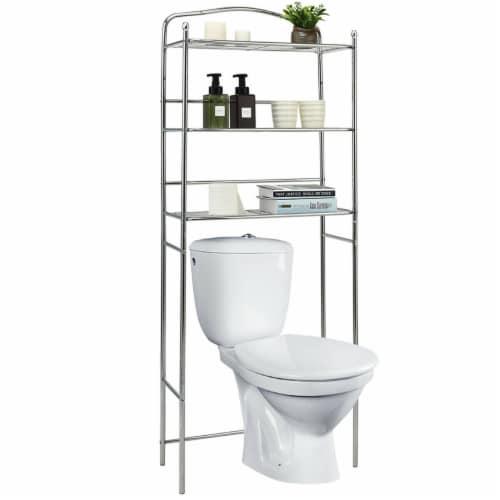 Costway 3-Tier Over The Toilet Bathroom Space Saver Metal Towel Rack Storage Organizer Perspective: front