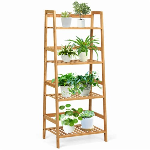 Gymax 4-Tier Bamboo Ladder Shelf Multipurpose Plant Display Stand Storage Bookshelf Perspective: front