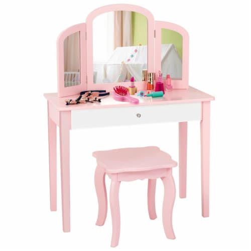 Gymax Kids Vanity Princess Make Up Dressing Table W/ Tri-folding Mirror & Chair Pink Perspective: front