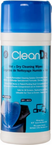 Digital Innovations CleanDr. Wet + Dry Cleaning Wipes - 70 pk Perspective: front