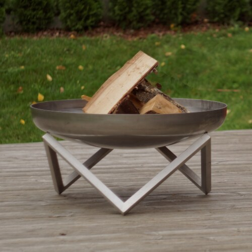 Curonian Z790MemelSt 31 in. Memel Stainless Steel Wood Burning Fire Pit - Silver, Large, 16 x Perspective: front