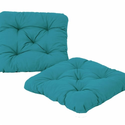 Curonian Alma Outdoor & Indoor Furniture Alma Seat Cushions, Teal - 19.7 x 19.7 x 2.3 in. Perspective: front