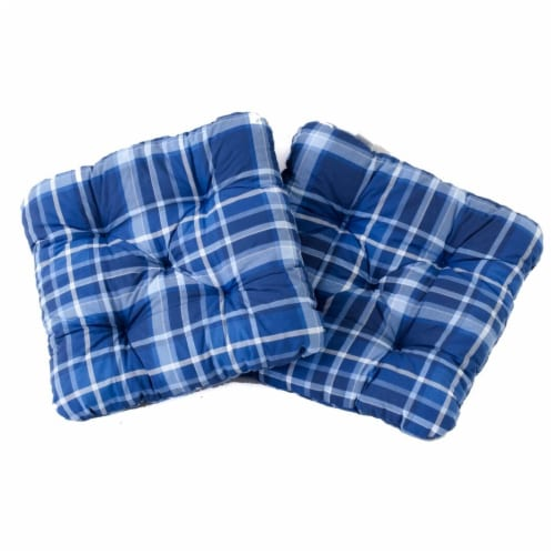 Curonian Alma Outdoor & Indoor Furniture Alma Seat Cushions, Blue Plaid - 19.7 x 19.7 Perspective: front